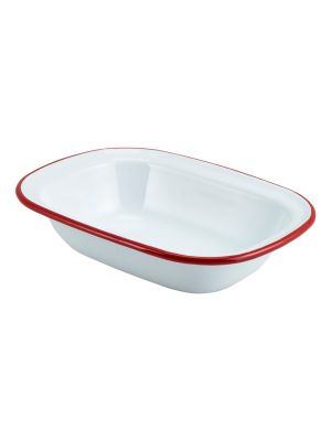 Enamel Rectangular Pie Dish White with Red Rim 20cm