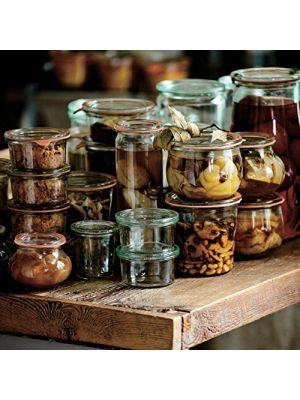 Mini Weck jars have a multiple uses, from serving up sauces, desserts and salads to the preserving of jams & chutneys etc