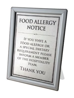 Counter Top Allergy Notice (Text) A4