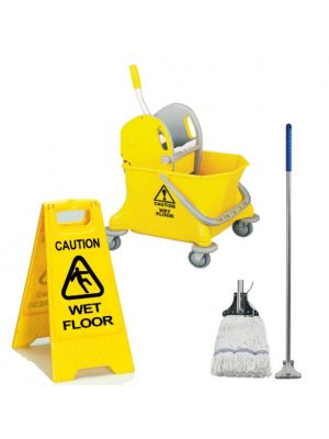 Cleaning Combo Set- Mop, Bucket & Wet Floor Sign