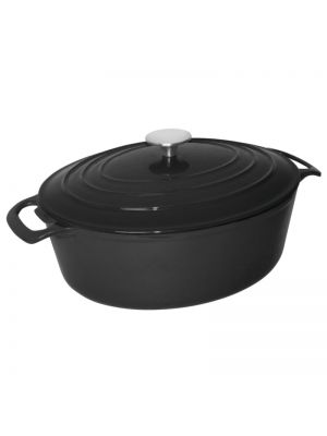 Black Oval Cast Iron Casserole Dish -30cm