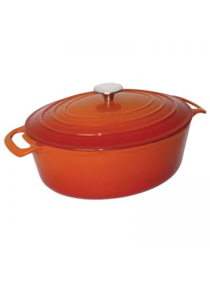 Orange Oval Cast Iron Casserole Dish -30cm