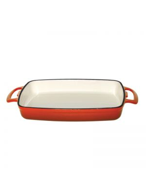 Orange Rectangular Cast Iron Dish -40cm