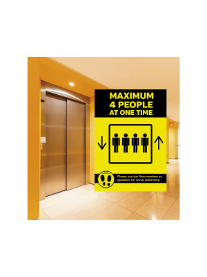 A2- Maximum 2 people allowed in the Lift at one time social distancing lift guidance Sign