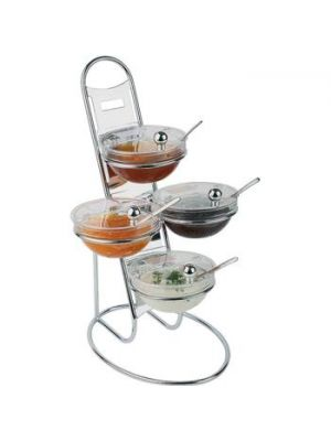 3 Tier Chrome Stand with 14cm Bowls