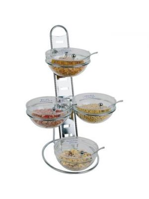 3 Tier Chrome Stand with 23cm Bowls