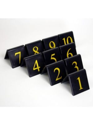 Plastic Black/Gold Table Numbers 1-10