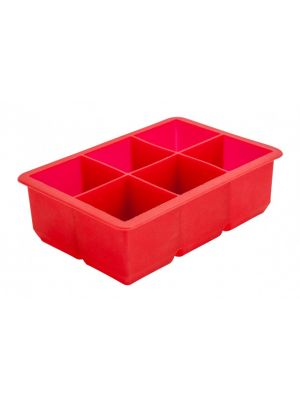 6 Cavity Silicone Ice Cube Mould 2″ Square (Red)