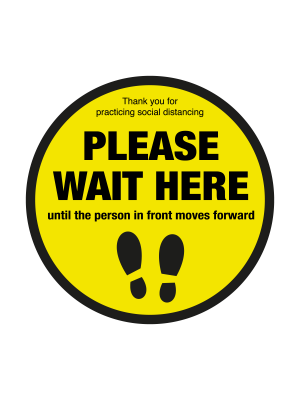 Please wait here with symbol social distancing floor graphic 600mm