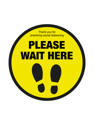 Please wait here social distancing circular floor graphic 600mm