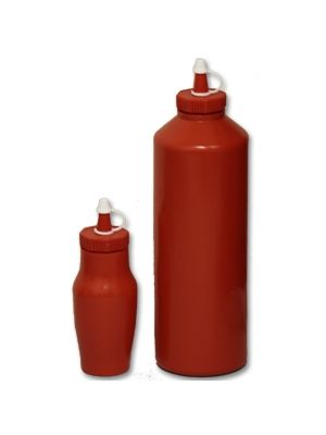 Red Plastic Sauce Bottle- Small