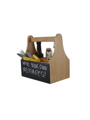 Wooden Caddy With Chalkboard-4 Compartments