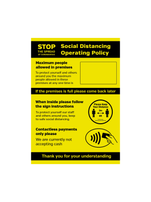 Social Distancing Operation Policy maximum people allowed / contactless payments only notice
