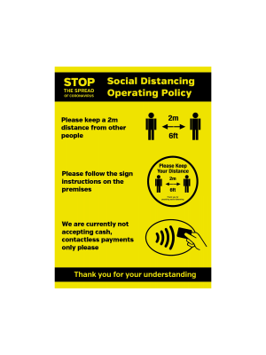 Social Distancing Operation Policy maximum people allowed / contactless payments only Vinyl Sticker
