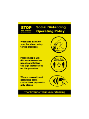 Social Distancing Operation Shop / business entry Policy Vinyl Sticker