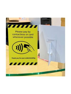 A4 Card & Contactless payments only countertop freestanding notice