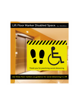 Disabled symbol social distancing floor vinyl graphic. 600mm
