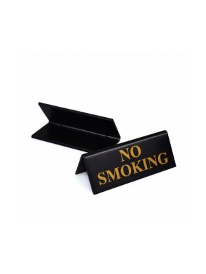 Plastic Black/Gold No Smoking Table Signs