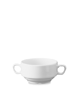 Plain White Consomme Stacking Bowl  with handles 415ml